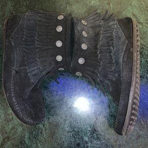 Minnetonka black booties